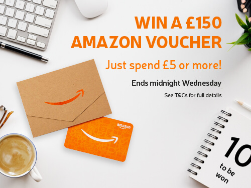 Win a £150 Amazon Voucher! Just spend £5 or more. Ends midnight Wednesday. 10 to be won.