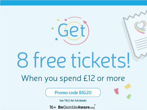 Get 8 free tickets! When you spend £12 or more. Use Promo Code BIG20.