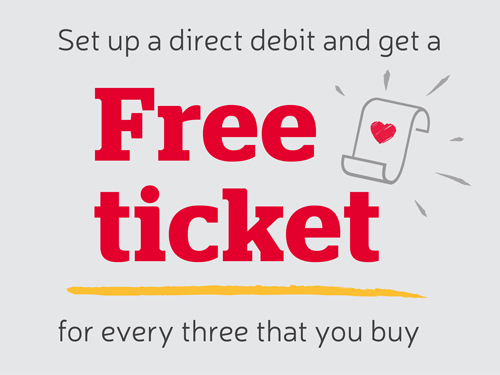Set up a direct debit and get a Free Ticket for every three that you buy.