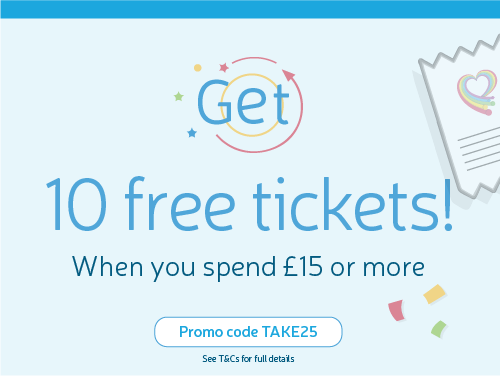 Spend 15 GBP get 10 free online lottery tickets