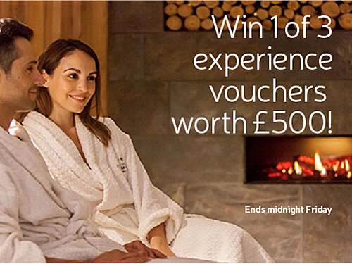 Win 1 of 3 experience vouchers worth £500! Ends midnight Friday.