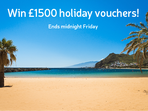 Beautiful beach landscape. Win £1500 holiday vouchers! Ends midnight Friday.