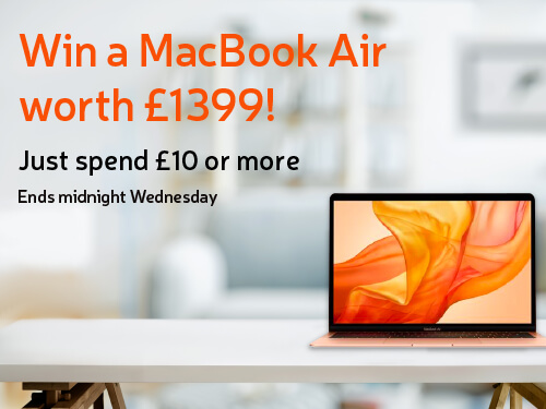 Win a MacBook Air worth £1399! Just spend £10 or more. Ends midnight Wednesday.