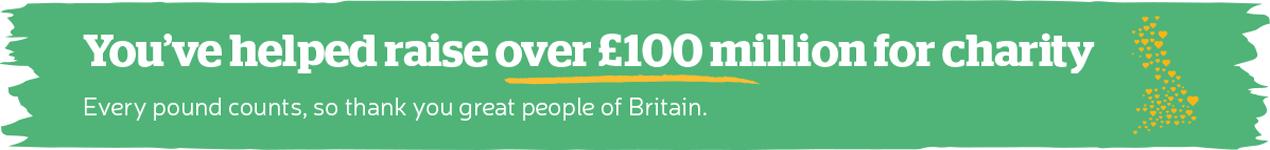 Over £100 Million Raised for Good Causes So Far