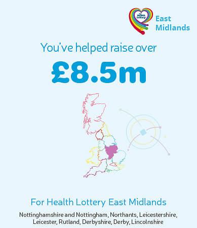 You've helped raise over £8.5m for Health Lottery East Midlands. Graphic showing highlighted region on map.