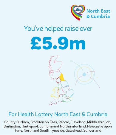 You've helped raise over £5.9m for Health Lottery North East & Cumbria. Graphic showing highlighted region on map.