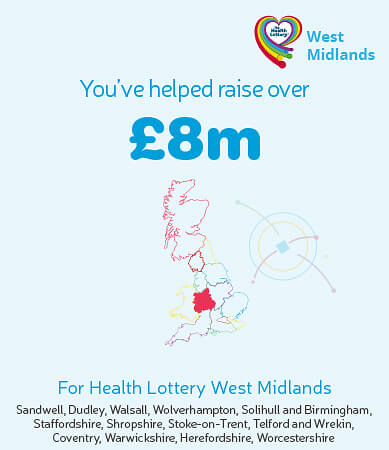 You've helped raise over £8m for Health Lottery West Midlands. Graphic showing highlighted region on map.