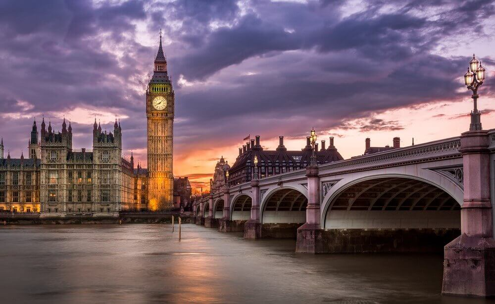 Big Ben and London evening view