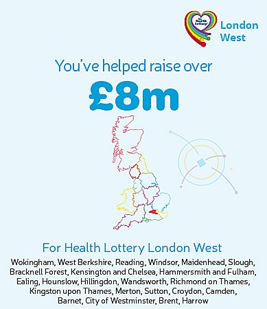 You've helped raise over £8m for Health Lottery London West. Graphic showing highlighted region on map.