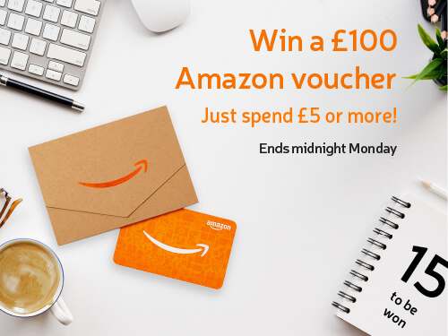 Win a £100 Amazon Voucher! Just spend £5 or more. Ends midnight Monday! 15 to be won.