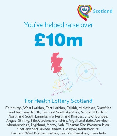 You've helped raise over £10m for Health Lottery Scotland. Graphic showing highlighted region on map.